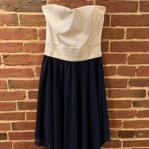 White and blue strapless dress